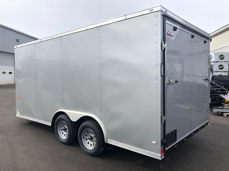 ROCK SOLID 2019 8.5' x 16' CH TANDEM AXLE SILVER SEMI SCREWLESS V-NOSE CARGO TRAILER WITH TRIPLE TUBED TONGUE EXTENDED