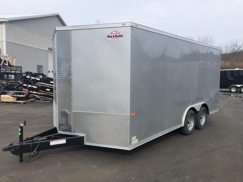 ROCK SOLID 2019 8.5' x 16' CH TANDEM AXLE SILVER SEMI-SCREWLESS V-NOSE CARGO CAR HAULER TRAILER WITH 60