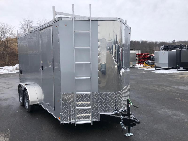 LOOK 2019 7' x 14'  SILVER TANDEM AXLE SCREWLESS V-NOSE ENCLOSED TRAILER WITH REAR BARN DOORS EXTRA HEIGHT AND LADDER RACK