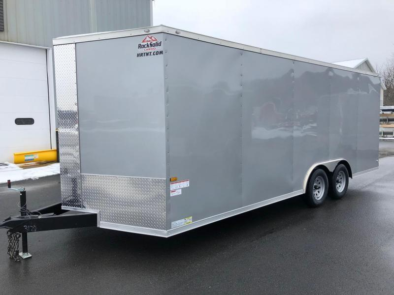 ROCK SOLID 8.5 x 20 Tandem Axle Semi Screwless Enclosed Silver V-NOSE Trailer