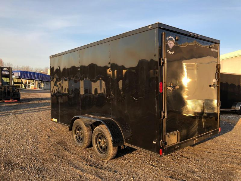DIAMOND CARGO 2019 7' x 14'  BLACK WITH BLACK DIAMOND PACKAGE TANDEM AXLE SEMI-SCREWLESS ENCLOSED CARGO TRAILER