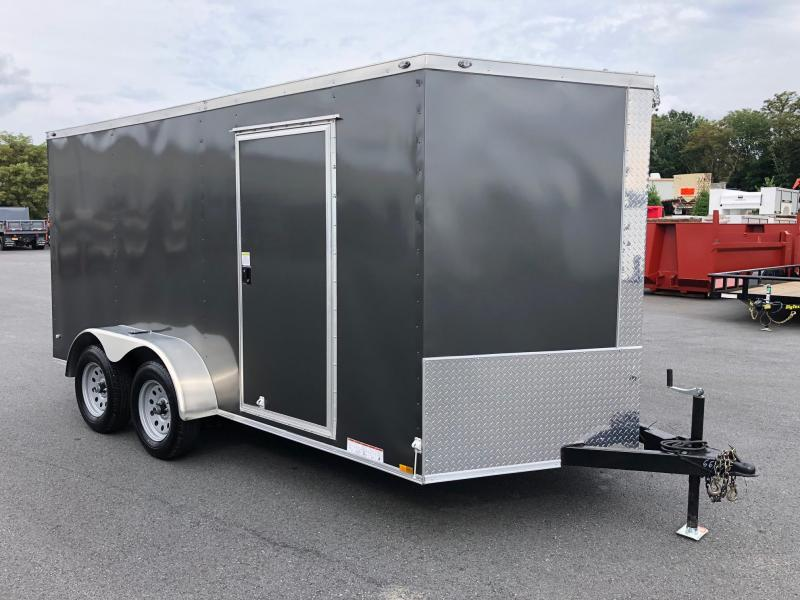 DIAMOND CARGO 2019 7 x 14 TANDEM AXLE GRAY SEMI-SCREWLESS ENCLOSED TRAILER