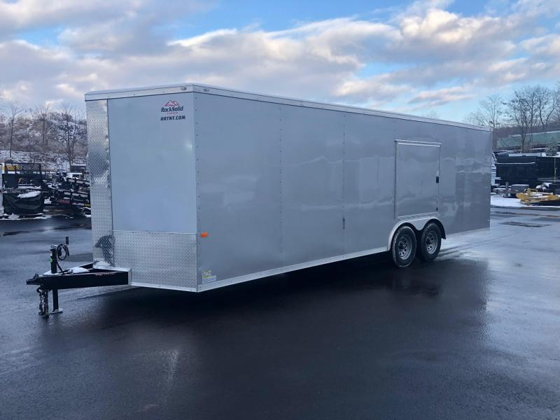 ROCK SOLID 2019 8.5' x 24' TANDEM AXLE SILVER SEMI-SCREWLESS  ACCESS DOOR OVER D/S FENDER V-NOSE CARGO TRAILER/ CAR HAULER
