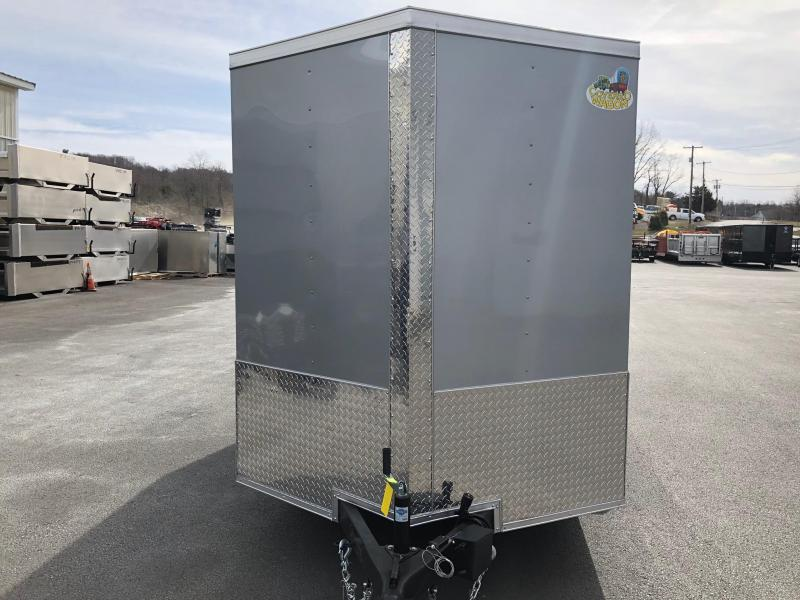 COVERED WAGON 2018 SILVER 6' x 12' SINGLE AXLE V-NOSE ENCLOSED TRAILER