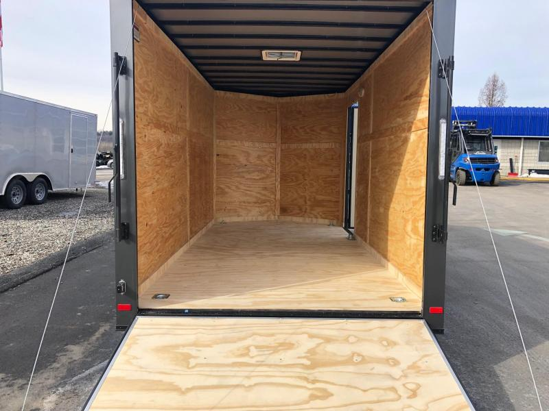 COVERED WAGON 2019 CHARCOAL 7 x 14 TANDEM AXLE SEMI-SCREWLESS EXTRA HEIGHT ENCLOSED CARGO TRAILER