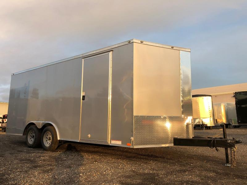 "DIAMOND CARGO 2019 8.5' x 18' SILVER SEMI-SCREWLESS TANDEM AXLE V-NOSE CARGO TRAILER w/60"" TRIPLE TUBE TONGUE EXTENDED"