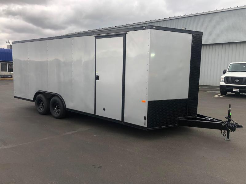 ROCK SOLID 2019 8.5 x 20 SILVER WITH BLACKOUT SIDE ESCAPE DOOR SEMI SCREWLESS V NOSED ENCLOSED CARGO TRAILER