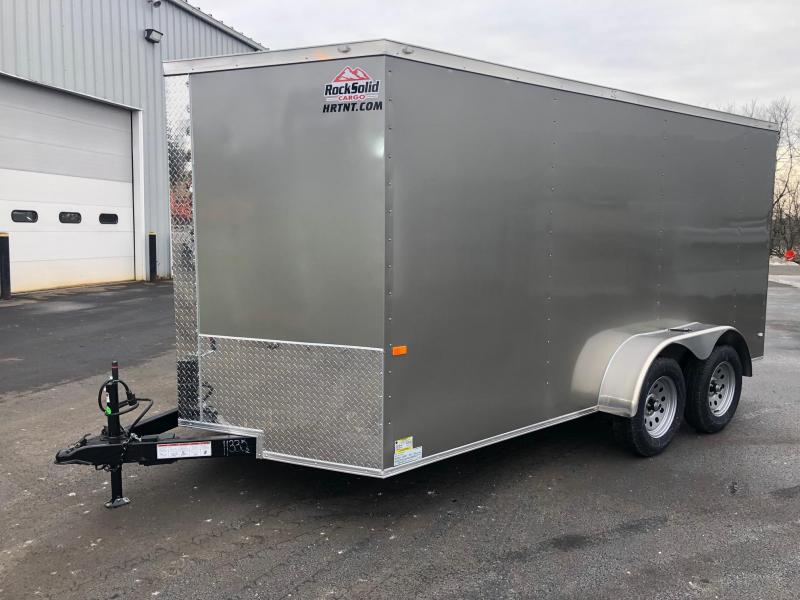 ROCK SOLID 2019 7' x 14 PEWTER TANDEM AXLE SEMI-SCREWLESS  WITH TRIPLE TUBED TONGUEV-NOSE ENCLOSED TRAILER