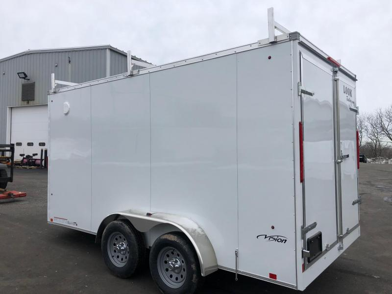 LOOK 2019 7' x 14'  WHITE TANDEM AXLE SCREWLESS V-NOSE ENCLOSED TRAILER WITH REAR BARN DOORS EXTRA HEIGHT AND LADDER RACK