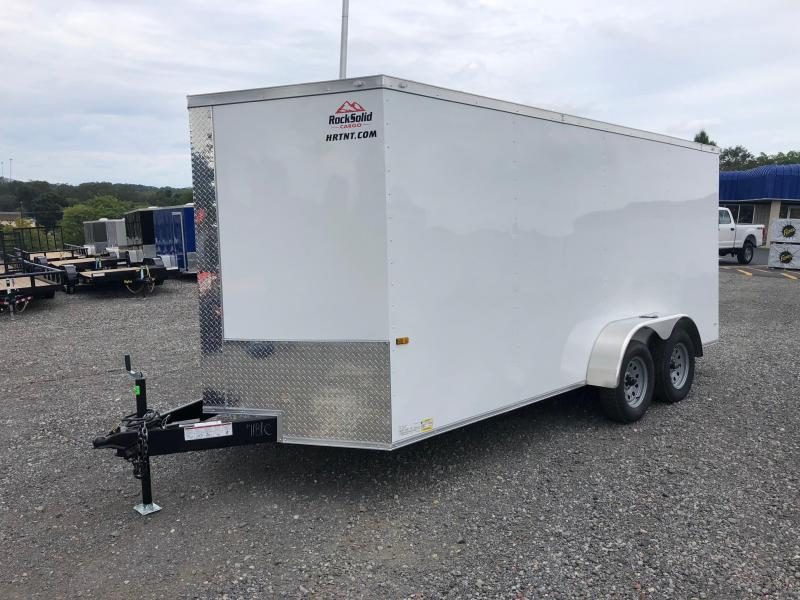 ROCK SOLID 2018 7' x 16' WHITE TANDEM AXLE SEMI-SCREWLESS V-NOSE ENCLOSED TRAILER