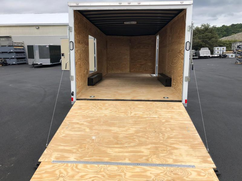 ROCK SOLID 2019 8.5 x 20 Tandem Axle White Semi Screwless Car Racing Cargo / Enclosed V-NOSE Trailer w/ Triple Tube Extended Tongue and Escape Door