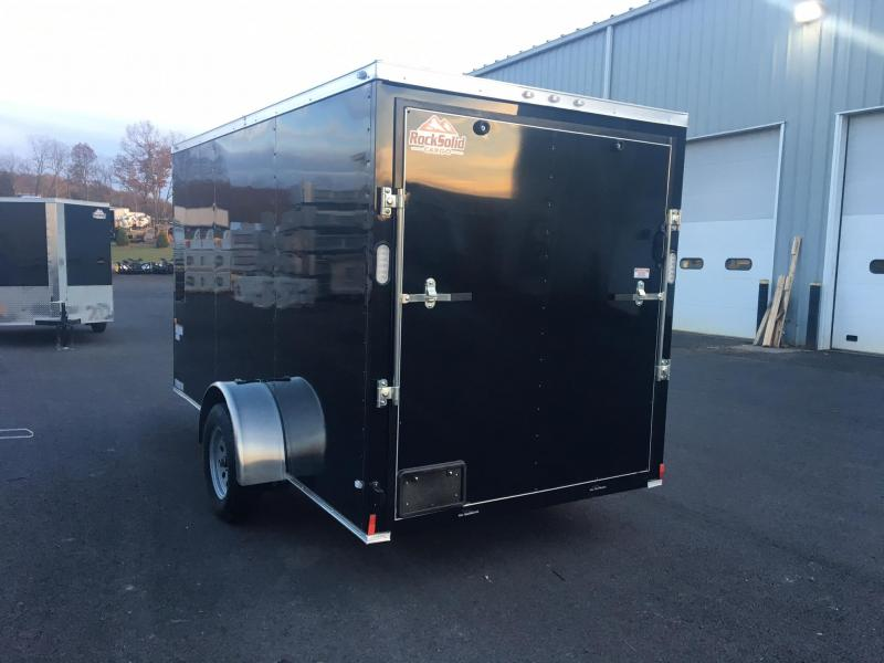 ROCK SOLID 2019 6' x 12' BLACK SINGLE AXLE SEMI-SCREWLESS V-NOSE ENCLOSED TRAILER