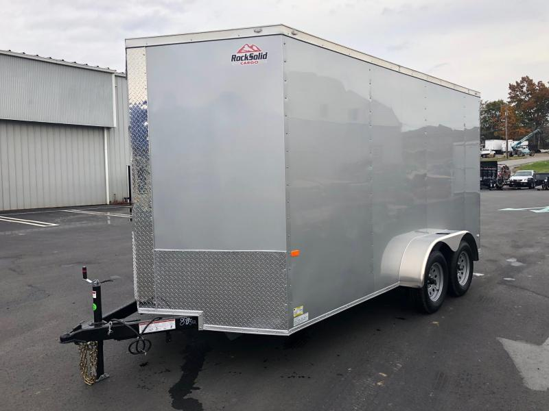 "ROCK SOLID 2019 7' x 14 TANDEM AXLE SILVER SEMI-SCREWLESS V-NOSE ENCLOSED TRAILER WITH 12"" EXTRA HEIGHT"