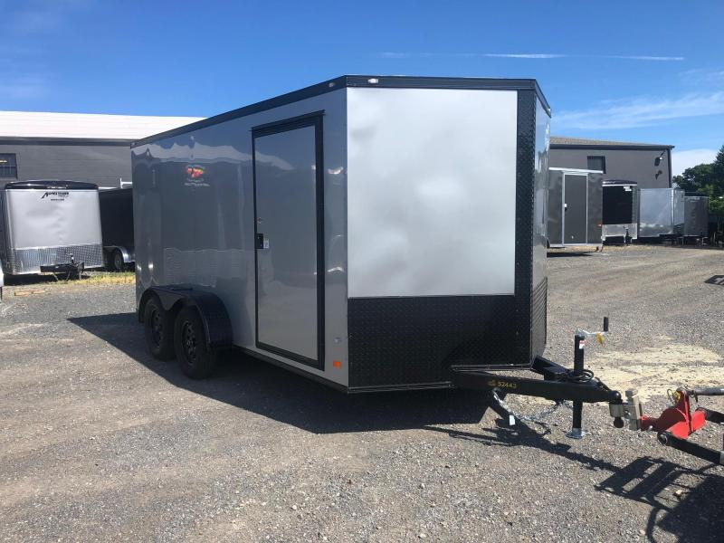 COVERED WAGON 2019 7 x 14 TANDEM AXLE SILVER WITH BLACKOUT ENCLOSED CARGO TRAILER