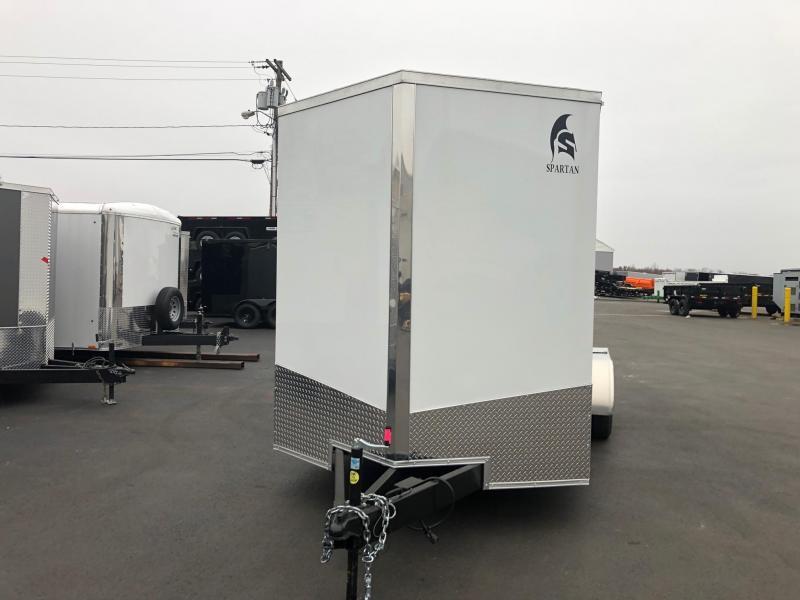 SPARTAN CARGO 2019 7X16 TANDEM AXLE WHITE SEMI SCREWLESS ENCLOSED TRAILER