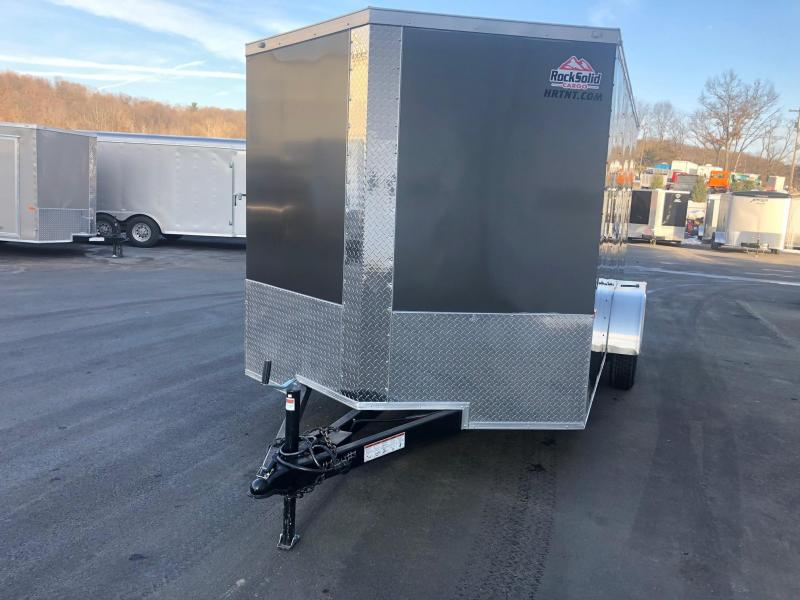 ROCK SOLID 2019 7' x 14 CHARCOAL SEMI-SCREWLESS TANDEM AXLE TRIPLE TUBE TONGUE EXTENDED V-NOSE ENCLOSED TRAILER