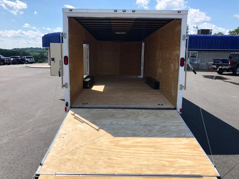 DIAMOND CARGO 2018 8.5' x 24' TANDEM AXLE WHITE SEMI-SCREWLESS  ENCLOSED CAR HAULER TRAILER w/ESCAPE DOOR