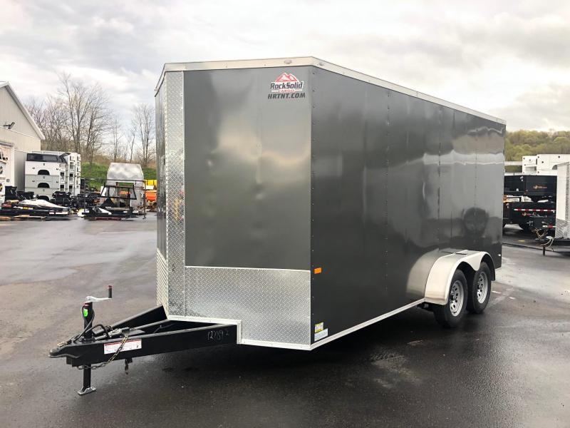 ROCK SOLID 2019 7' x 16' GREY TANDEM AXLE SEMI-SCREWLESS V-NOSE ENCLOSED TRAILER 7' INTERIOR HT