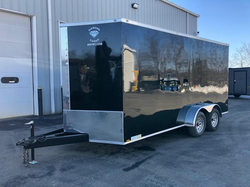DIAMOND CARGO 2019 7' x 16' BLACK TANDEM AXLE  TRIPLE TUBE TONGUE V-NOSE  EXTRA HEIGHT CARGO TRAILER