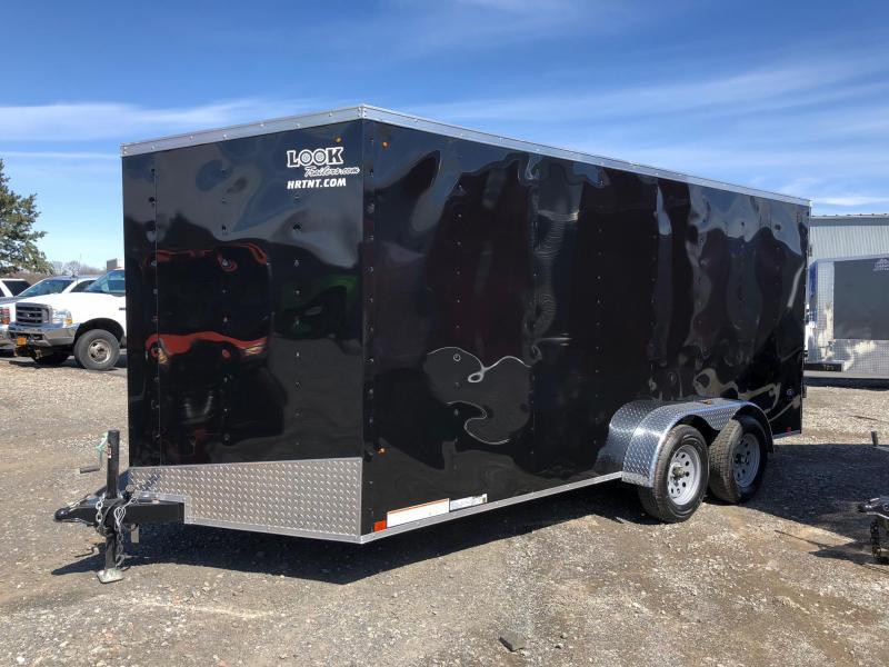 LOOK 2018 7 x 16 BLACK DELUXE VNOSE CARGO ENCLOSED TRAILER
