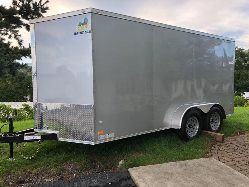 COVERED WAGON 2019 SILVER 7 x 14 TANDEM AXLE SEMI-SCREWLESS ENCLOSED CARGO TRAILER