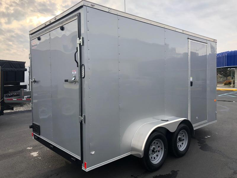 "ROCK SOLID 2019 7' x 14 SILVER SEMI-SCREWLESS TANDEM AXLE V-NOSE ENCLOSED TRAILER WITH 12 "" ADDITIONAL HEIGHT"