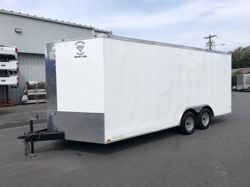 DIAMOND CARGO 2018 8.5' x 18' WHITE TANDEM AXLE V-NOSE CARGO TRAILER