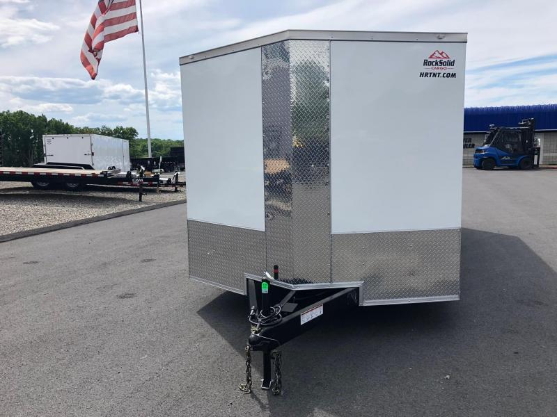 ROCK SOLID 8.5 x 20 Tandem Axle White Semi Screwless Enclosed V-NOSE Trailer w/Extended Tongue