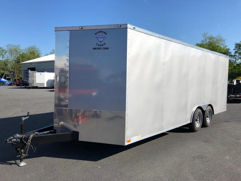 DIAMOND CARGO 2019 8.5' x 20' SILVER SEMI-SCREWLESS TANDEM AXLE ENCLOSED CARGO TRAILER