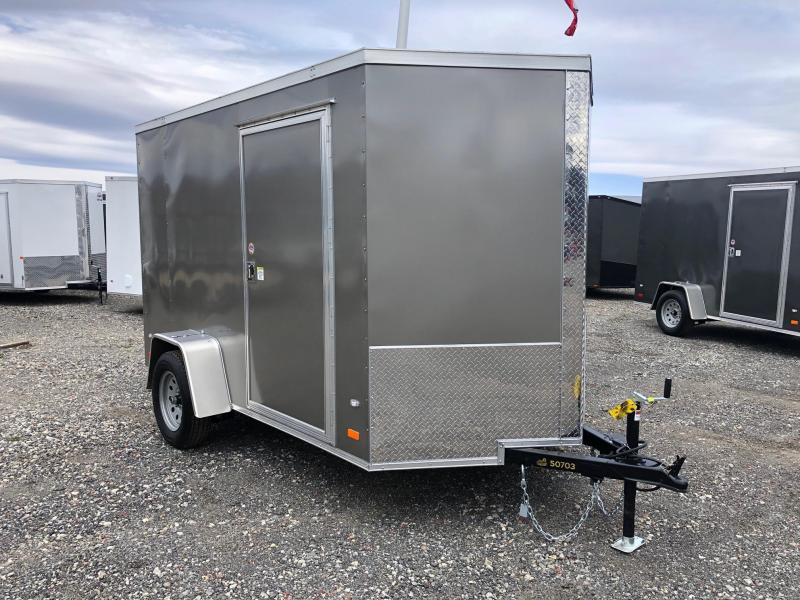 COVERED WAGON 2019 PEWTER  6' x 10' SINGLE AXLE V-NOSE SEMI SCREWLESS ENCLOSED CARGO TRAILER