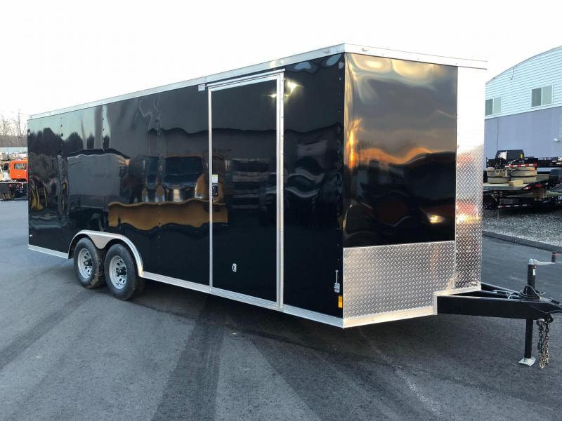 ROCK SOLID 8.5 x 20 Tandem Axle Semi-Screwless Enclosed Black V-NOSE Trailer