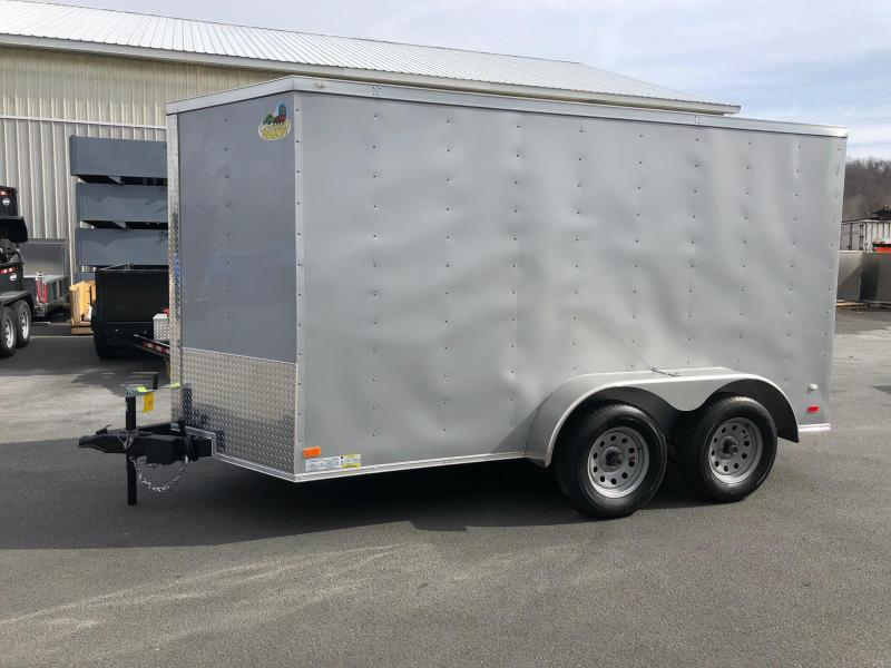 COVERED WAGON 2019 SILVER 6' x 12' TANDEM AXLE V-NOSE ENCLOSED TRAILER