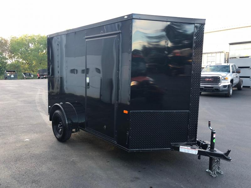 ROCK SOLID 2019 6' x 10' SINGLE AXLE BLACK w/BLACK TRIM PACKAGE ENCLOSED TRAILER