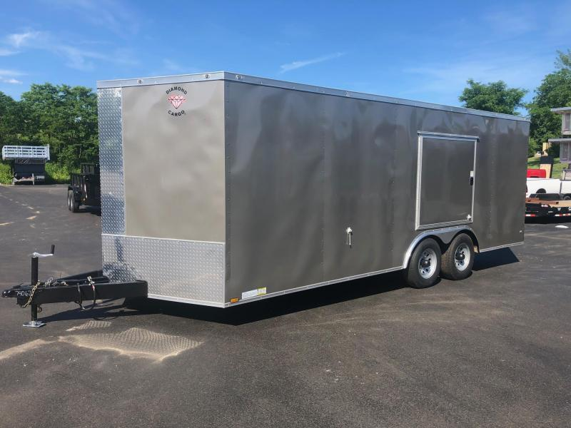 DIAMOND CARGO 2019 8.5' x 20' PEWTER SEMI-SCREWLESS WITH SIDE ESCAPE DOOR TANDEM AXLE ENCLOSED CARGO TRAILER
