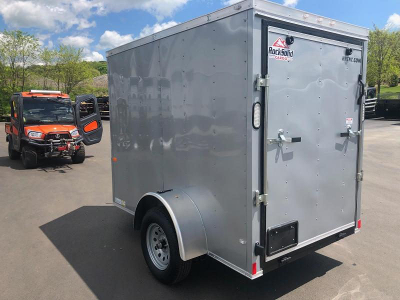 ROCK SOLID 2019 5' x 8' SINGLE AXLE SILVER SEMI SCREWLESS WITH ADDITIONAL HEIGHT ENCLOSED TRAILER