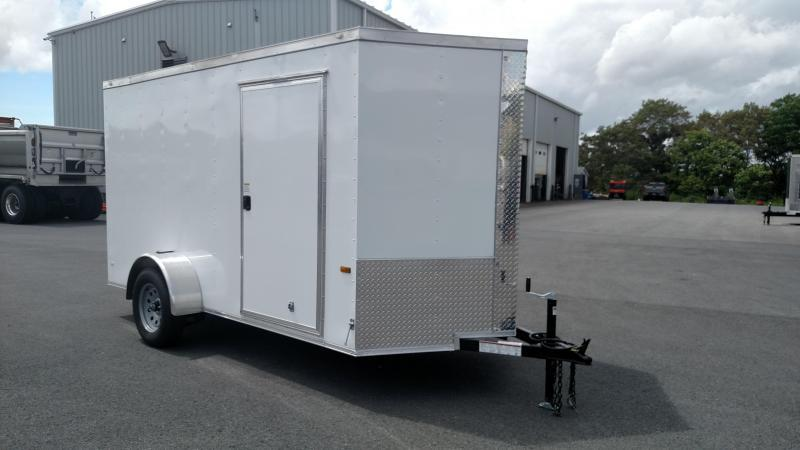 ROCK SOLID 2018 6' x 12' WHITE SINGLE AXLE V-NOSE ENCLOSED TRAILER