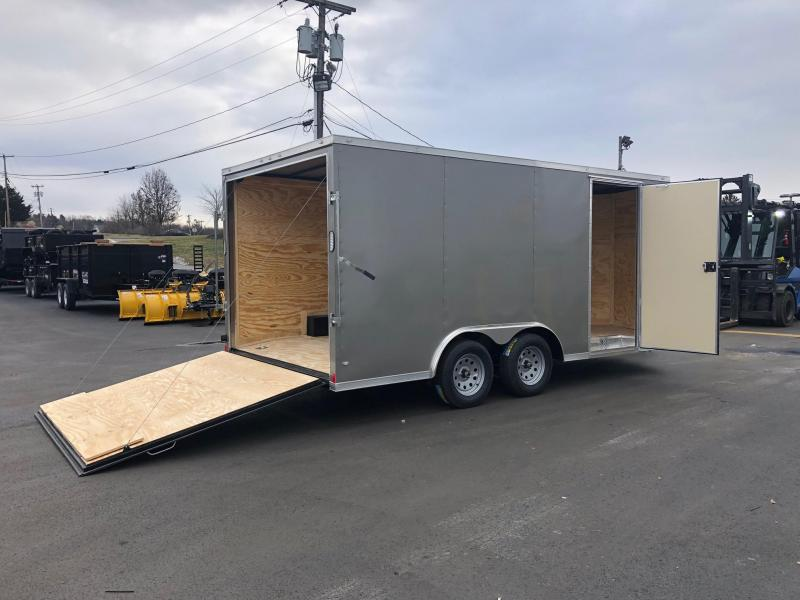 ROCK SOLID 2019 8.5' x 16' TANDEM AXLE PEWTER SEMI-SCREWLESS V-NOSE CARGO TRAILER with TRIPLE TUBE TONGUE EXTENDED