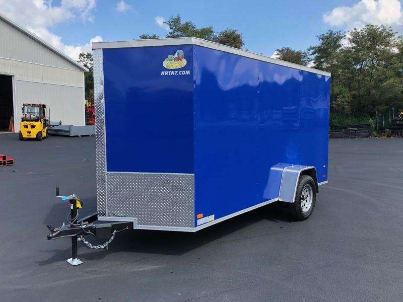 COVERED WAGON 2019 DEEP BLUE 6' x 12' SINGLE AXLE SEMI-SCREWLESS V-NOSE ENCLOSED TRAILER