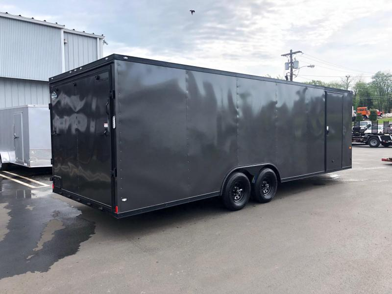 ROCK SOLID 2019 8.5' x 24' TANDEM AXLE SEMI-SCREWLESS CHARCOAL GRAY w/BLACK ROCK SOLID PACKAGE V-NOSE CARGO TRAILER / CAR HAULER WITH ESCAPE DOOR & TRIPLE TUBE TONGUE