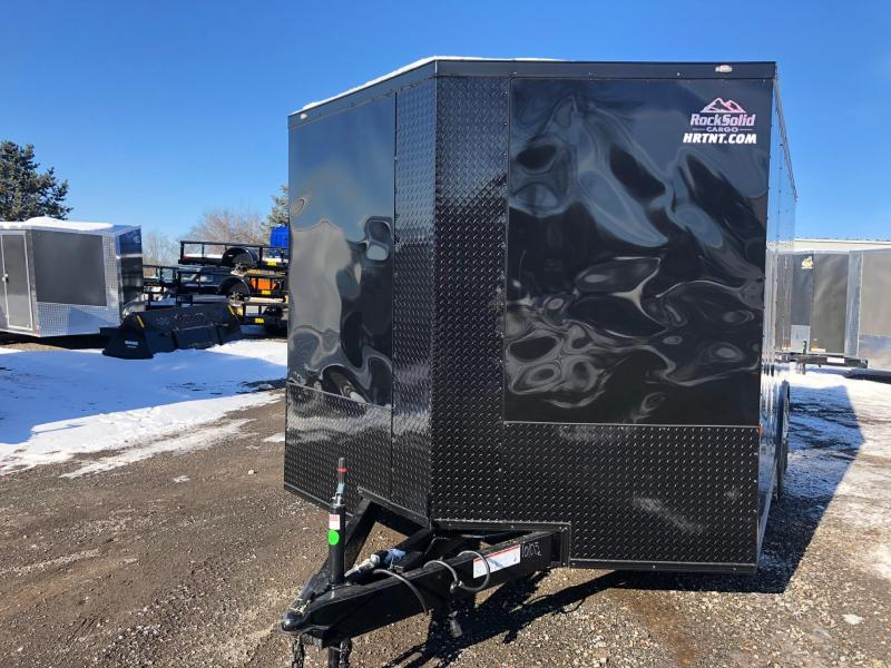 """ROCK SOLID 2019 8.5' x 16' CH TANDEM AXLE BLACK W/BLACKOUT  SEMI-SCREWLESS V-NOSE CARGO CAR HAULER TRAILER WITH 60"""" TRIPLE TUBE TONGUE EXTENDED"""