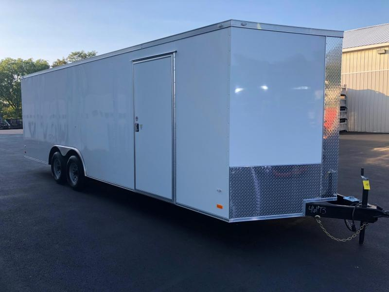 COVERED WAGON 2019 WHITE 8.5' x 24' SEMI-SCREWLESS ENCLOSED CARGO TRAILER CAR HAULER W/ESCAPE DOOR