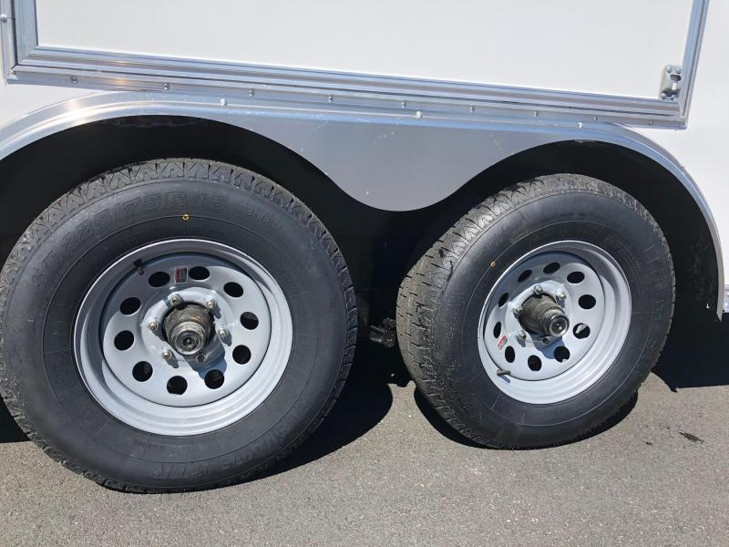 ROCK SOLID 2019 8.5' x 24' TANDEM AXLE WHITE V-NOSE SEMI SCREWLESS W/ TRIPLE TUBE TONGUE AND 54 X 48 ESCAPE DOOR ENCLOSED CARGO TRAILER / CAR HAULER