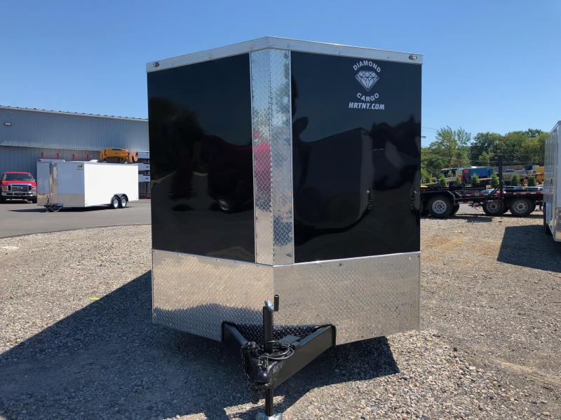 DIAMOND CARGO 2018 7' x 16' BLACK TANDEM AXLE SEMI-SCREWLESS V-NOSE CARGO TRAILER