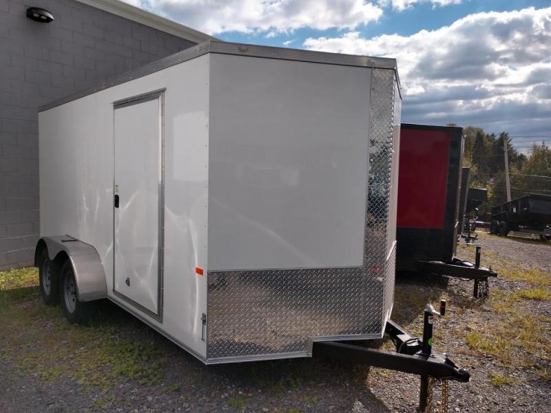 ROCK SOLID 2020 7' x 14 WHITE TANDEM AXLE SEMI-SCREWLESS V-NOSE ENCLOSED TRAILER