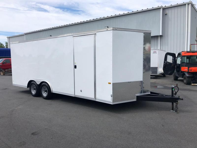 ROCK SOLID 2019 8.5' x 20' TANDEM AXLE WHITE SEMI-SCREWLESS V-NOSE CARGO TRAILER WITH TRIPLE TUBE TONGUE EXTENDED