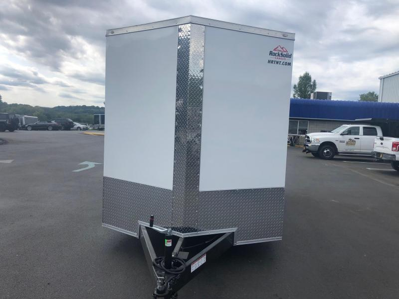 ROCK SOLID 2020 7' x 16' TANDEM AXLE WHITE SEMI SCREWLESS  V-NOSE ENCLOSED TRAILER WITH EXTENDED TONGUE