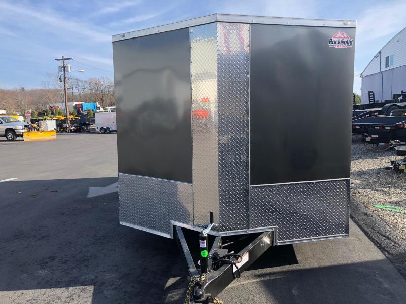 ROCK SOLID 2019 8.5' x 16' TANDEM AXLE CHARCOAL GRAY V-NOSE CARGO TRAILER with TRIPLE TUBE TONGUE EXTENDED