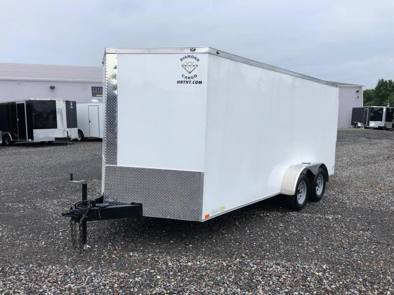 "DIAMOND CARGO 2018 7' x 16' WHITE SEMI-SCREWLESS TANDEM AXLE V-NOSE CARGO TRAILER WITH 60"" TRIPLE TUBE TONGUE EXTENDED"