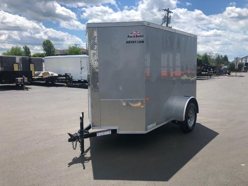 ROCK SOLID 2019 5' x 8' SINGLE AXLE SILVER WITH ADDITIONAL HEIGHT ENCLOSED TRAILER