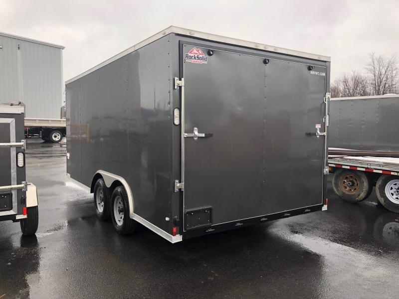 ROCK SOLID 2018 8.5' x 16' TANDEM AXLE CHARCOAL GRAY SEMI-SCREWLESS V-NOSE CARGO TRAILER with TRIPLE TUBE TONGUE EXTENDED